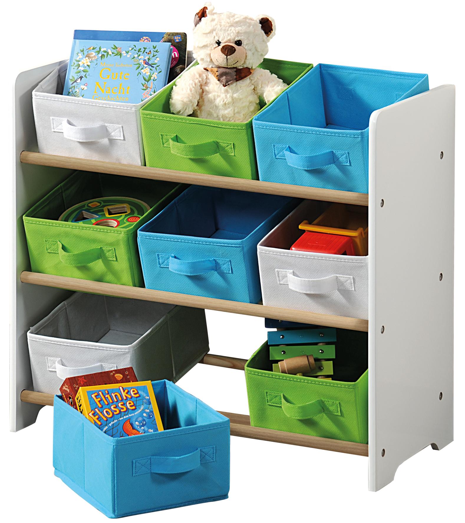 Organizer na hračky s barevnými boxy
