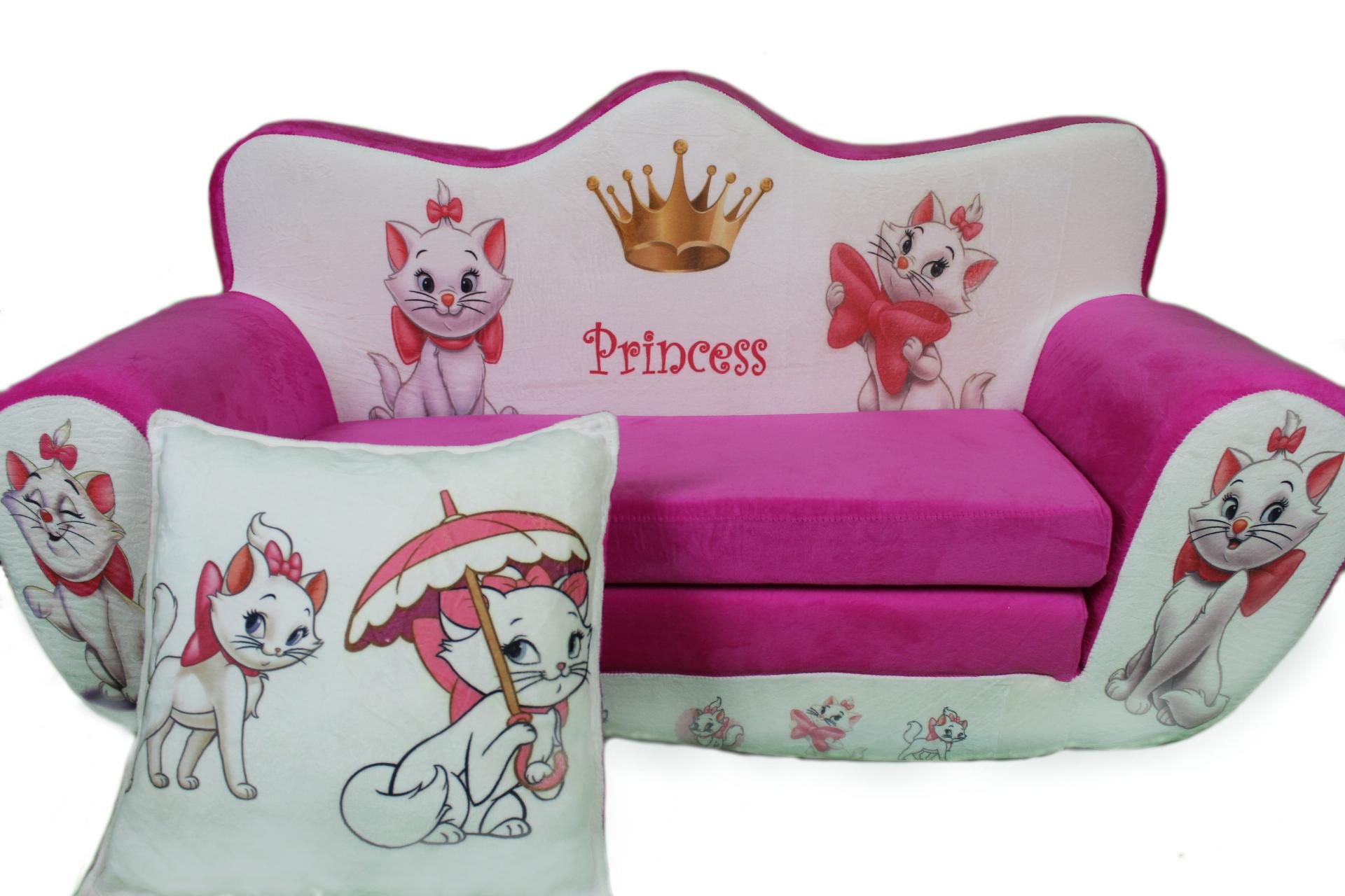Dětská rozkládací pohovka růžové Kočičky