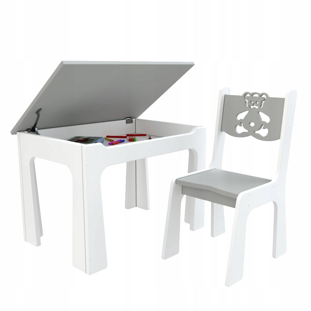 Dětský stůl s úložným prostorem a židlí Medvídek - šedý