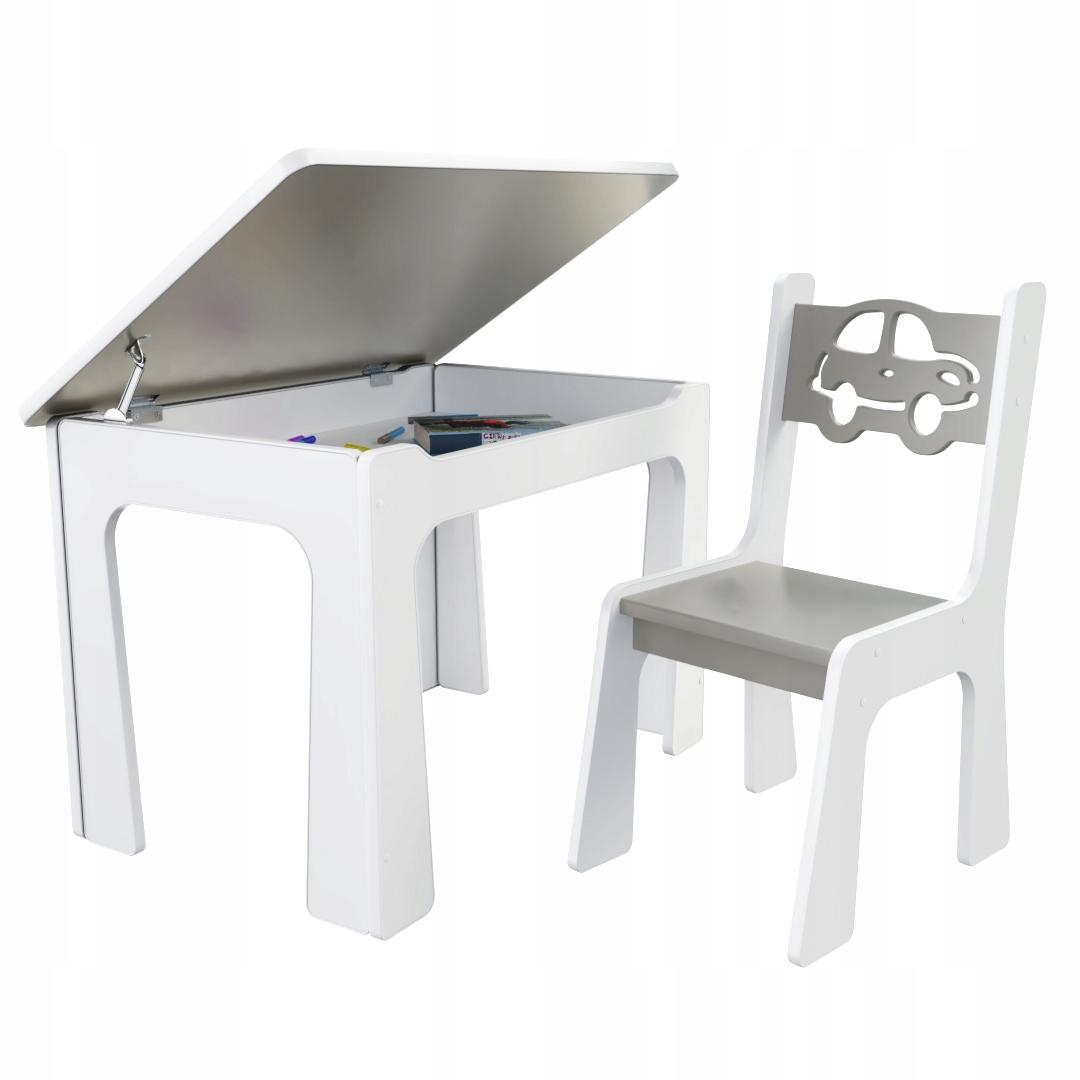 Dětský stůl s  úložným prostorem a židlí Auto - šedé