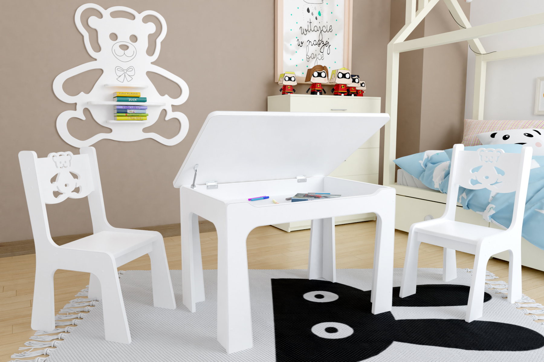 Dětský stůl s úložným prostorem a židlemi Medvídek - bílý