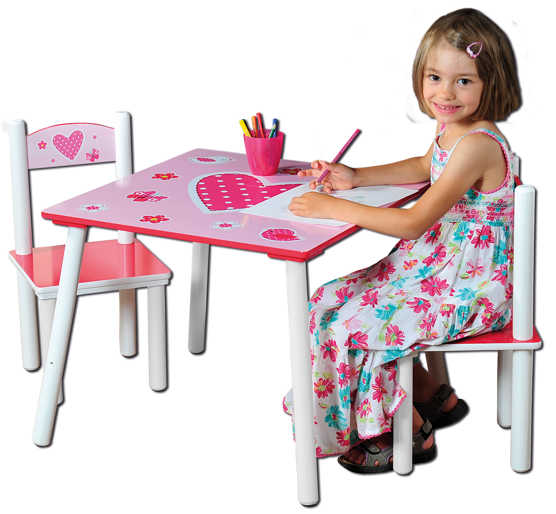 Dětský stůl s židlemi růžový