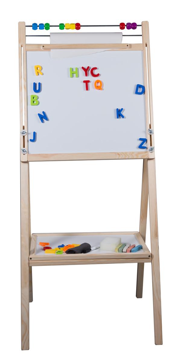 Dětská oboustranná otočná magnetická tabule přírodní