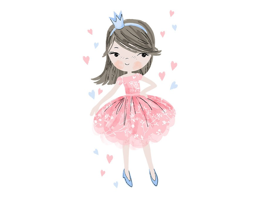 Samolepka na zeď Princezna - růžová