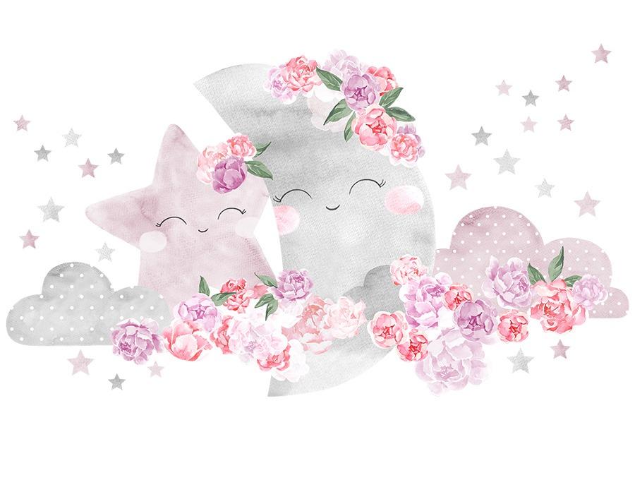 Samolepka na zeď Měsíc - růžový