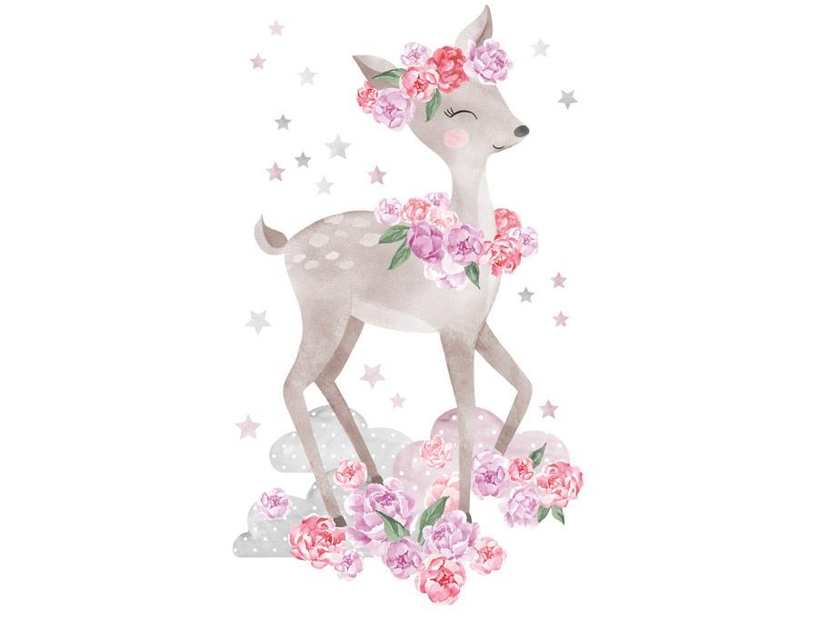 Samolepka na zeď srnka  - růžová