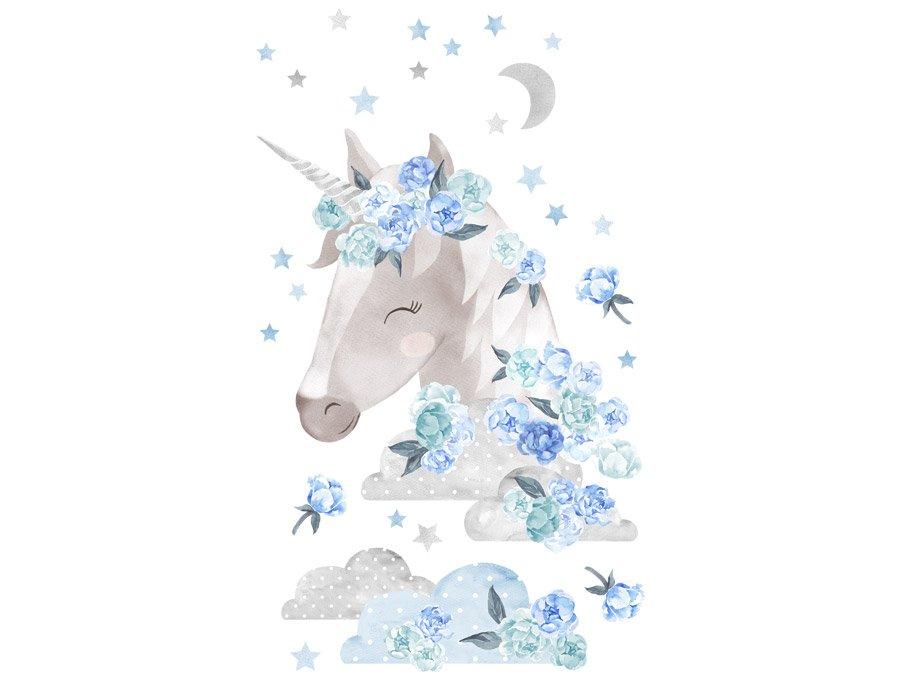 Samolepka na zeď  Unicorn  - modrý