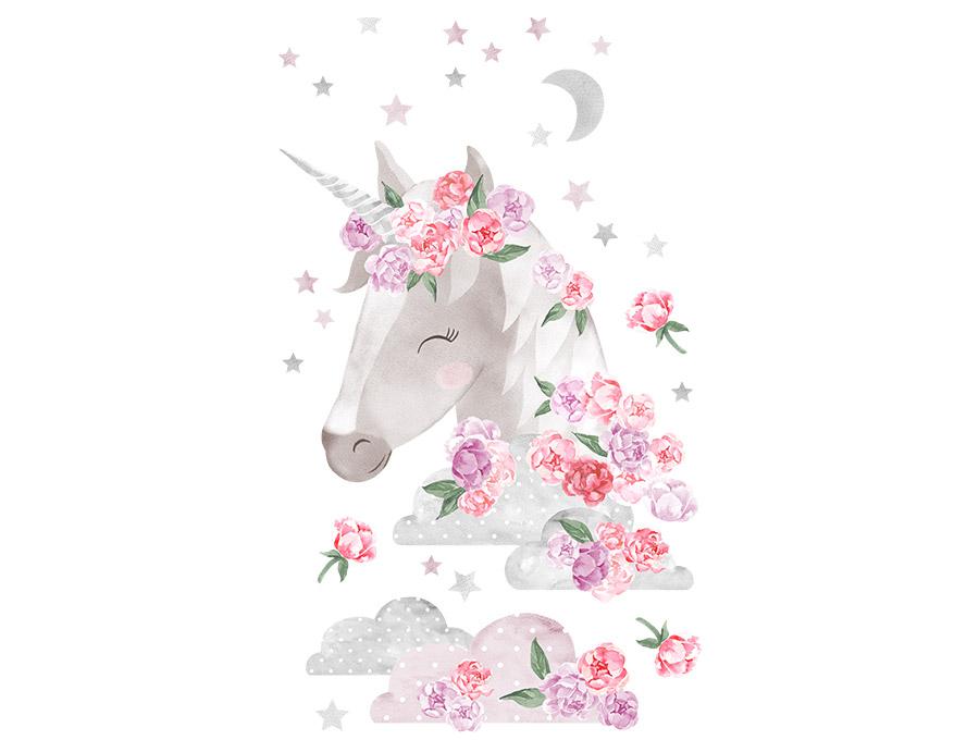 Samolepka na zeď  Unicorn  - růžový
