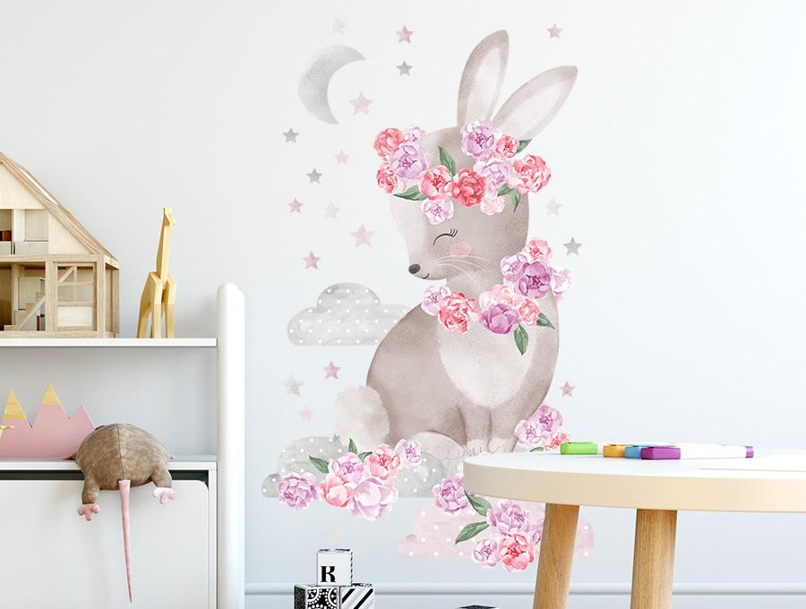 Samolepka na zeď  králíček  - růžový