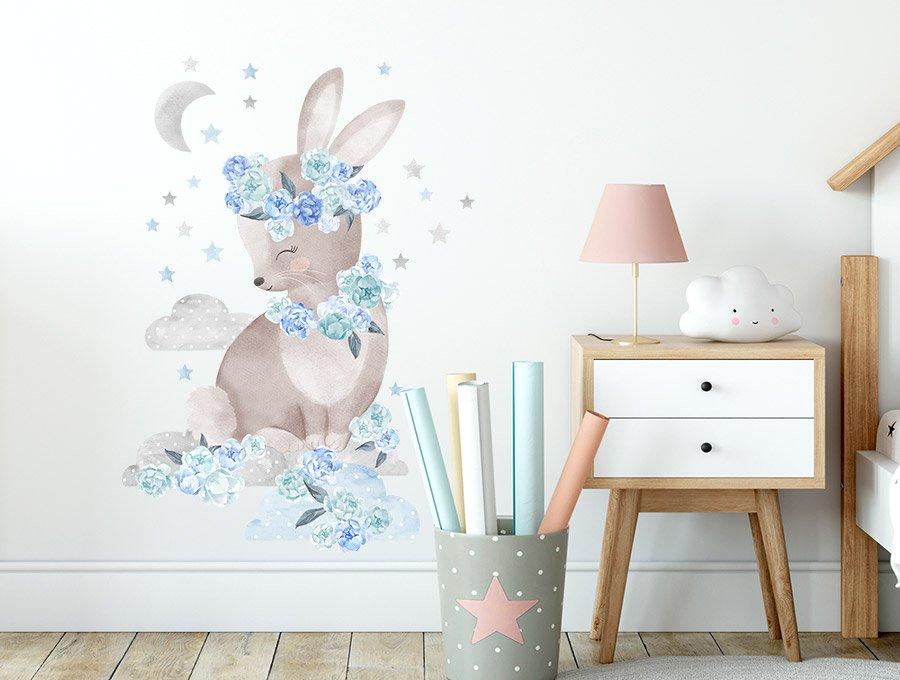 Samolepka na zeď  králíček  - modrý