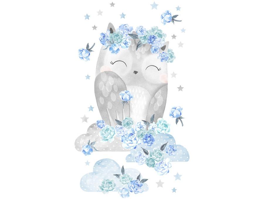 Samolepka na zeď sovička - modrá