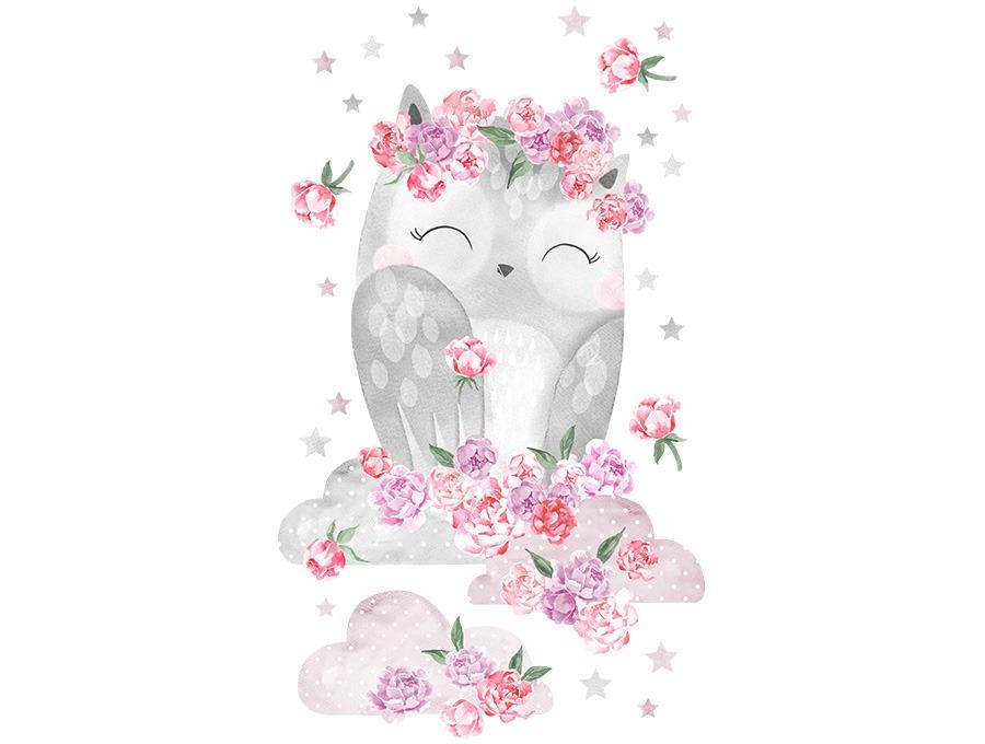Samolepka na zeď sovička - růžová