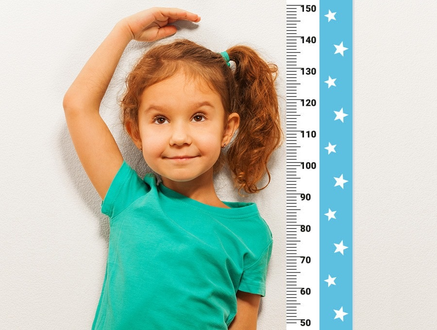 Měřítko vzrůstu hvězdičky - modrá