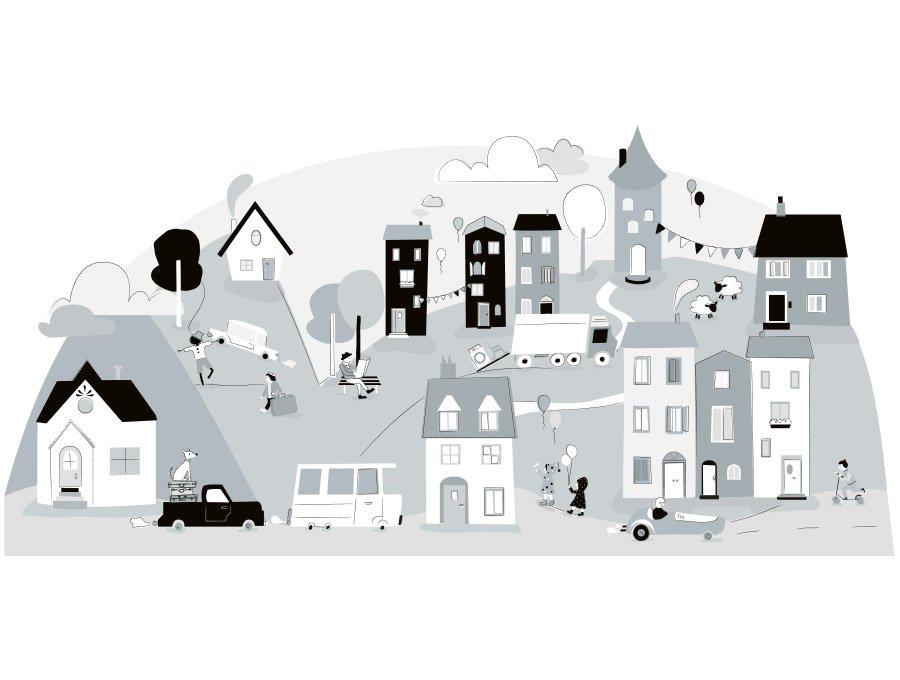 Samolepka na stěnu městečko -  šedá