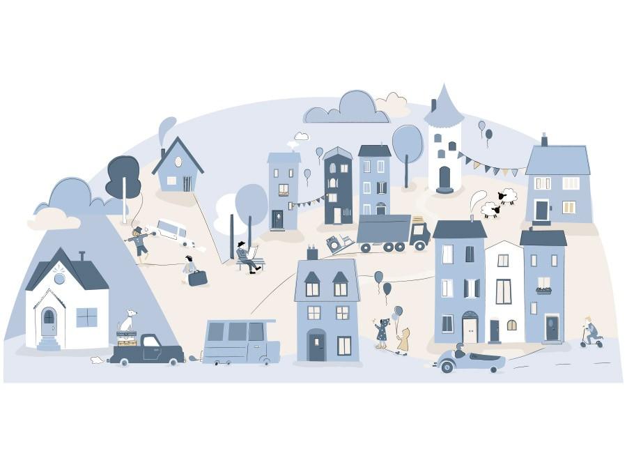 Samolepka na stěnu městečko - světle modrá