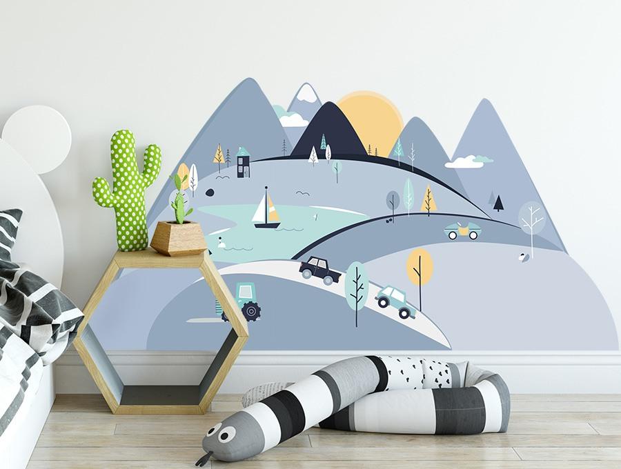 Samolepka na stěnu hory - modrá