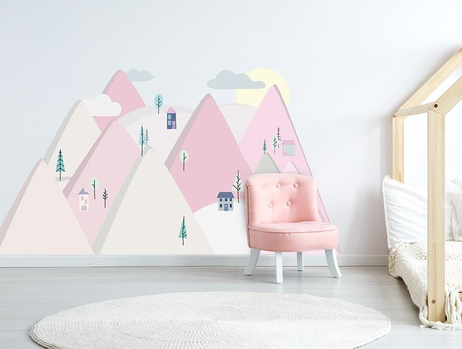 Samolepka na stěnu hory - růžová