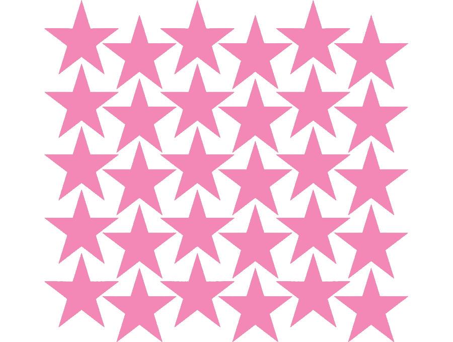 Samolepky na stěnu hvězdičky - růžová