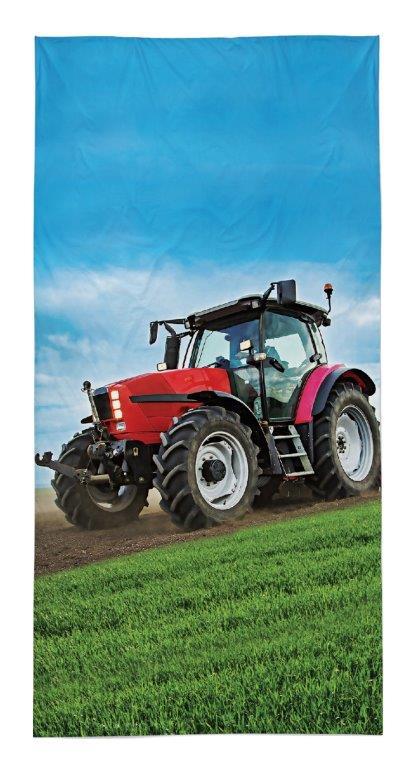 Dětská osuška Traktor na poli - červený 140x70 cm