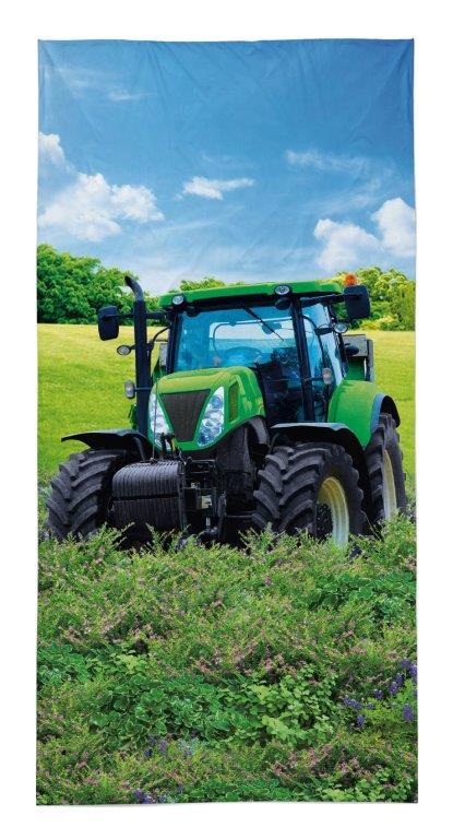 Dětská osuška Traktor na poli - zelený 140x70 cm