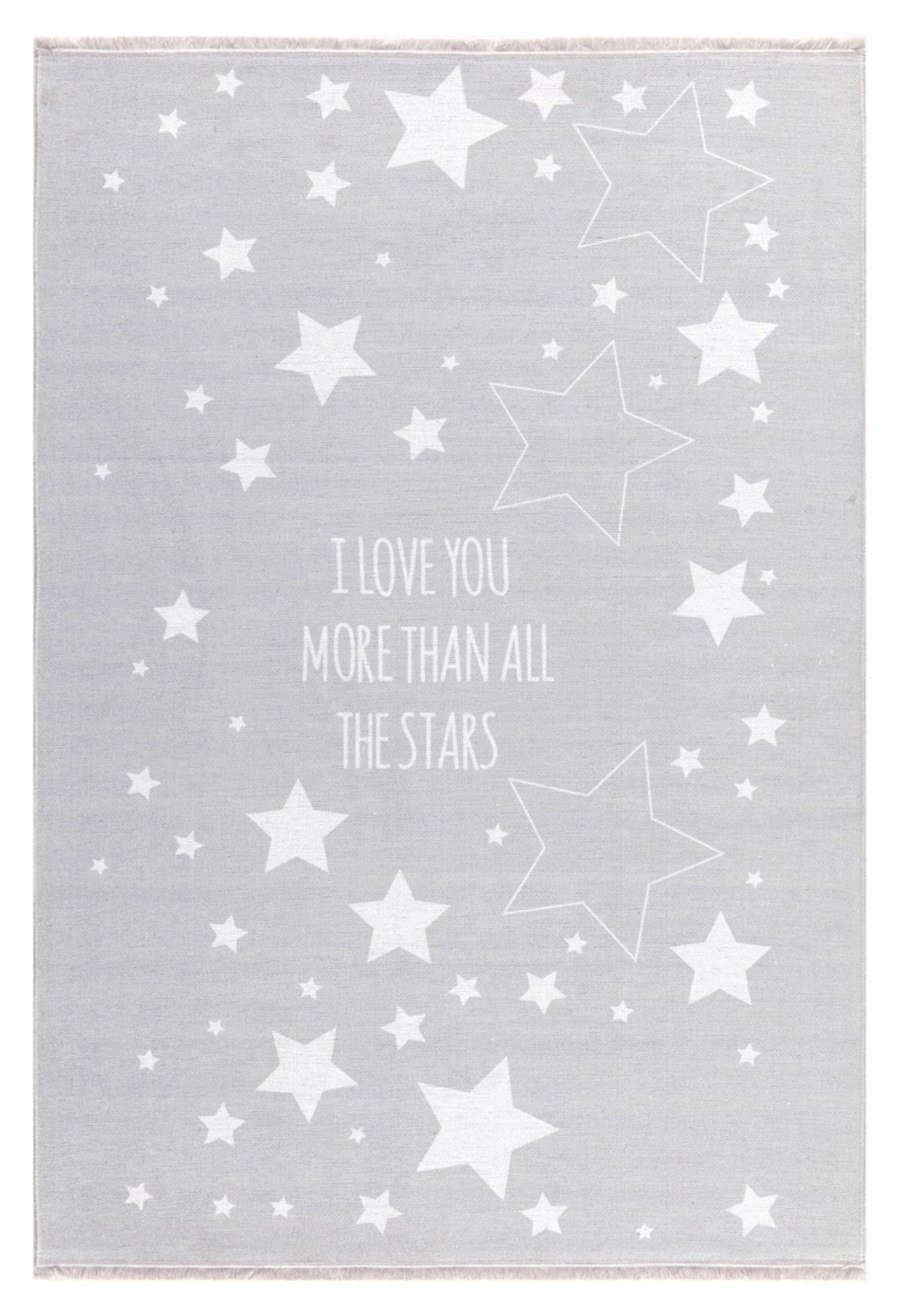 Dětský koberec milujeme hvězdy - šedý 90x130cm