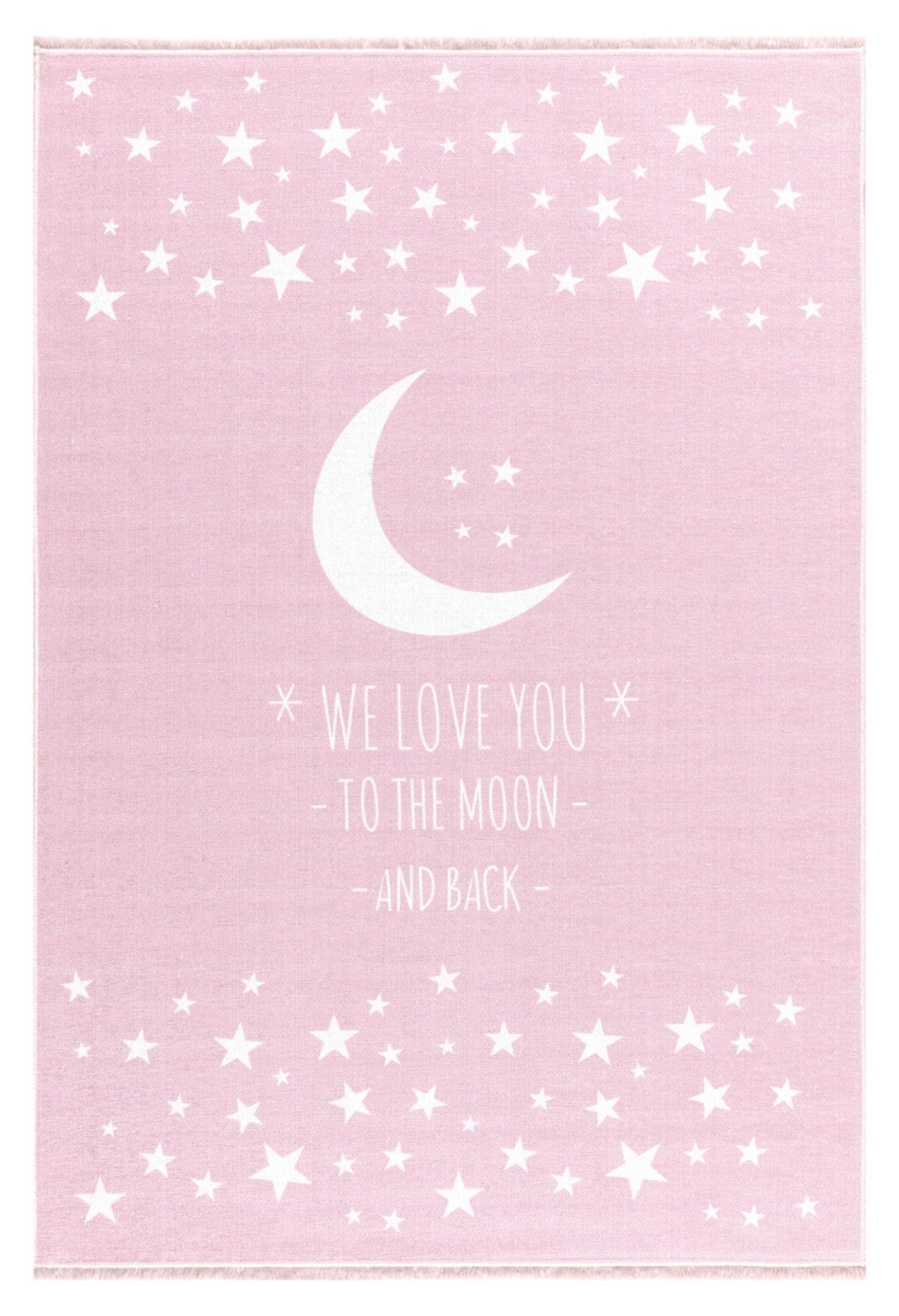 Dětský  koberec  milujeme měsíc - růžový 100x160cm