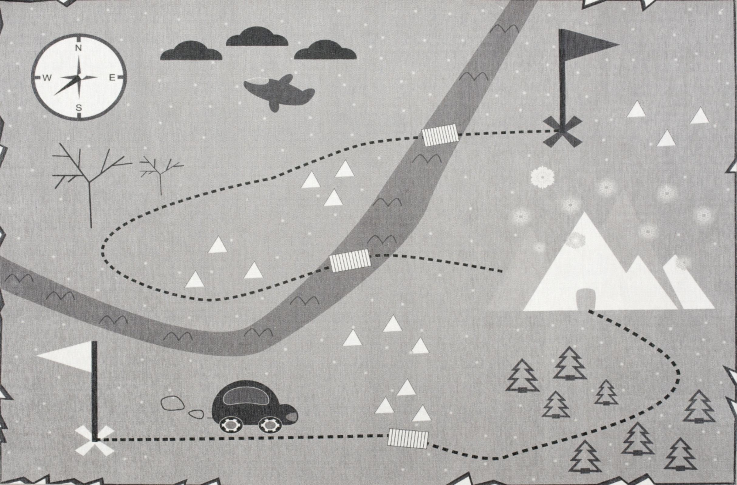 Dětský koberec mapa pokladů - šedý 90x130cm