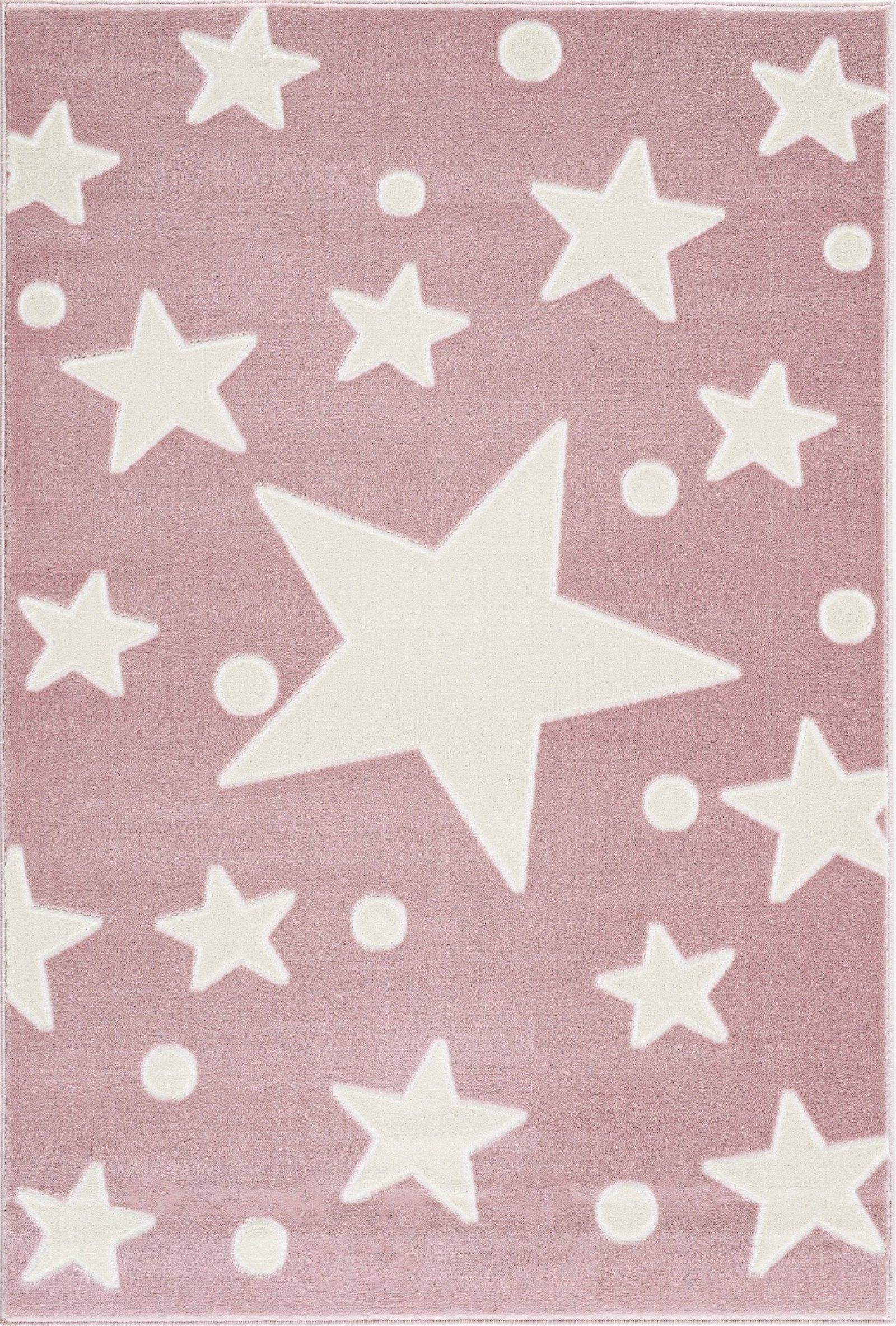 Dětský koberec hvězdy - růžová-bílá  100x160cm