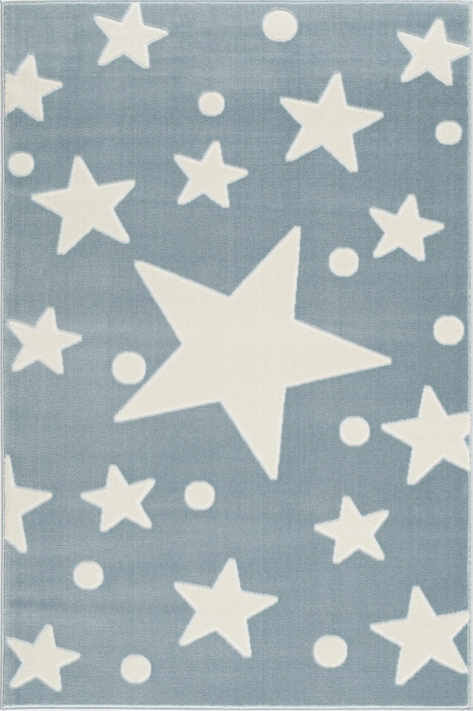 Dětský koberec hvězdy - modrá-bílá 100x160cm