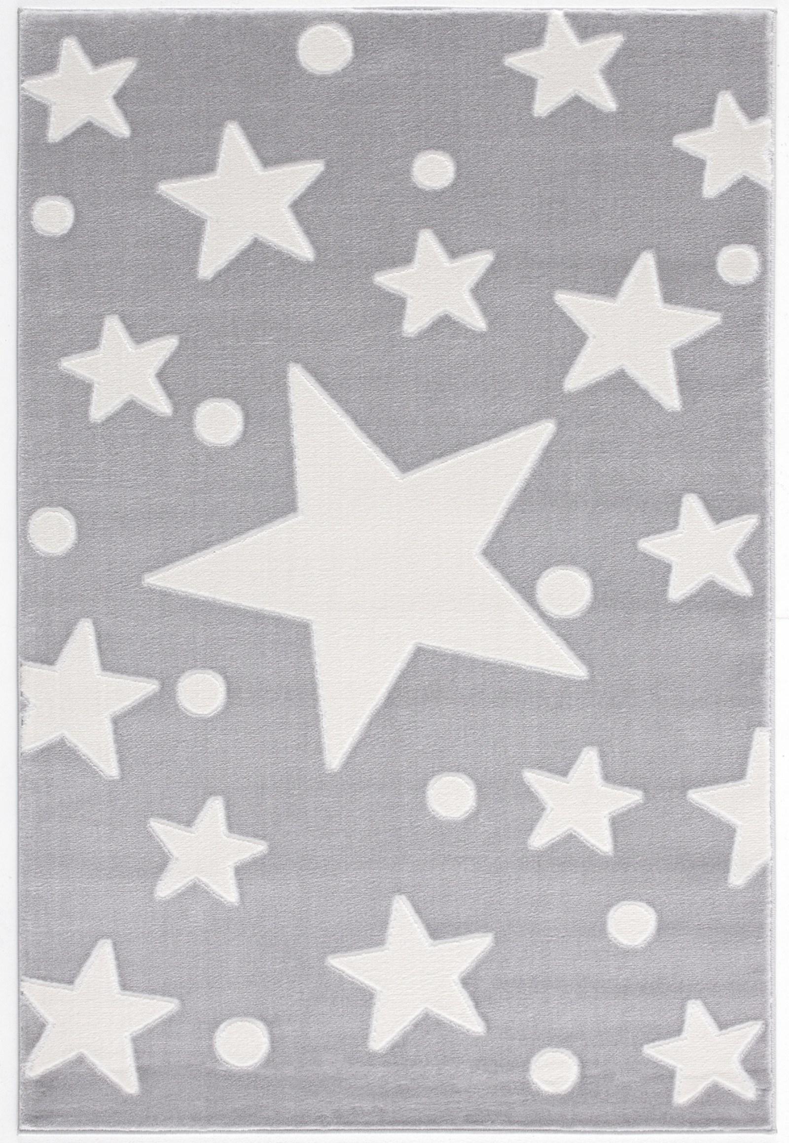 Dětský koberec hvězdy - šedá-bílá  100x160cm