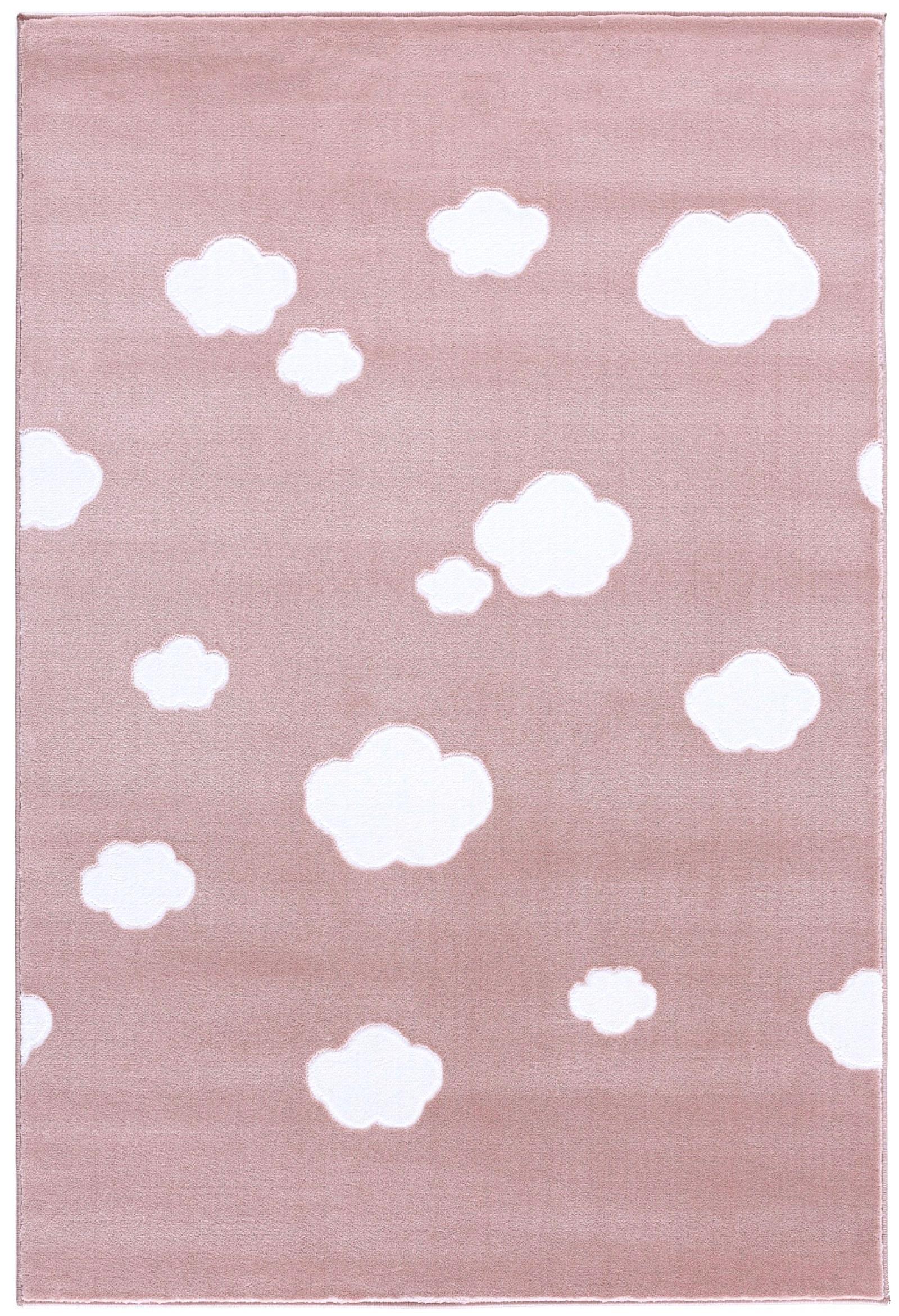 Dětský koberec mráčky - růžová-bílá  120x180cm