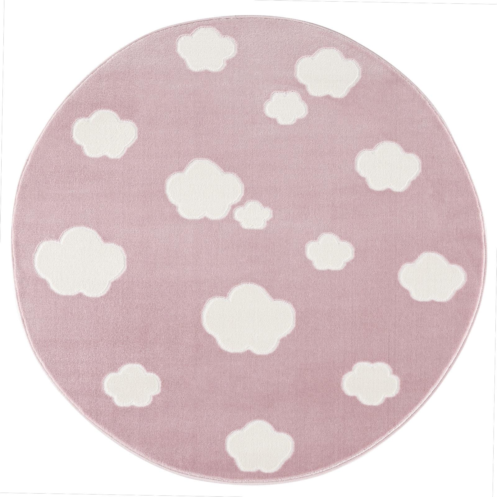 Dětský koberec mráčky - růžová/bílá 133cm