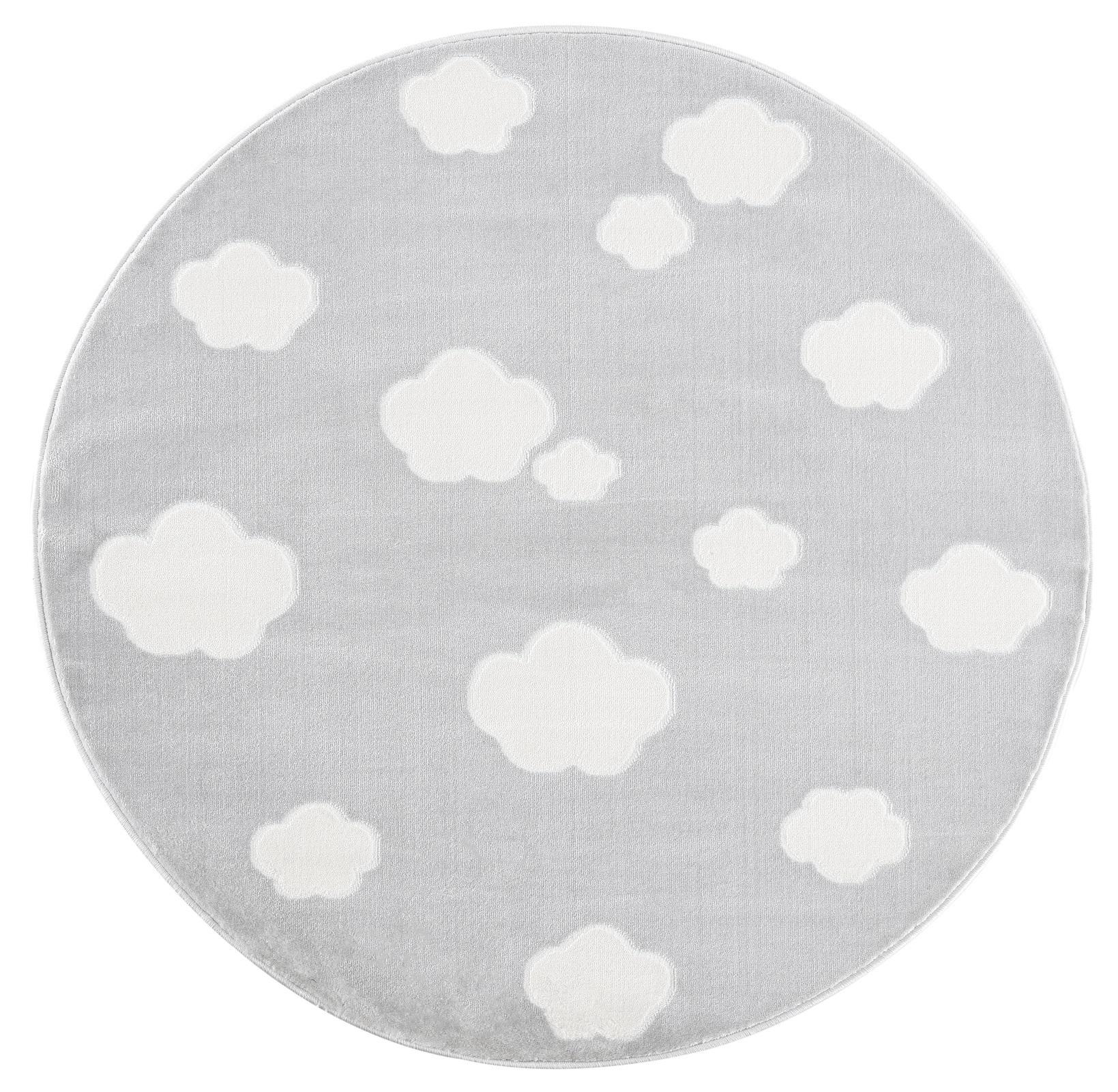 Dětský koberec mráčky - šedá/bílá 133cm