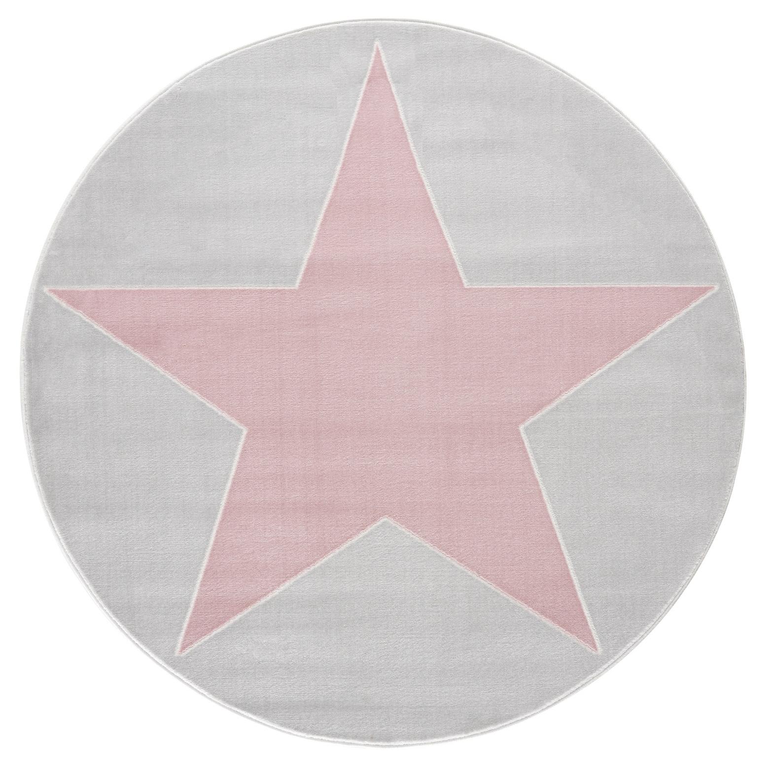 Dětský koberec hvězda - šedá/růžová 160cm