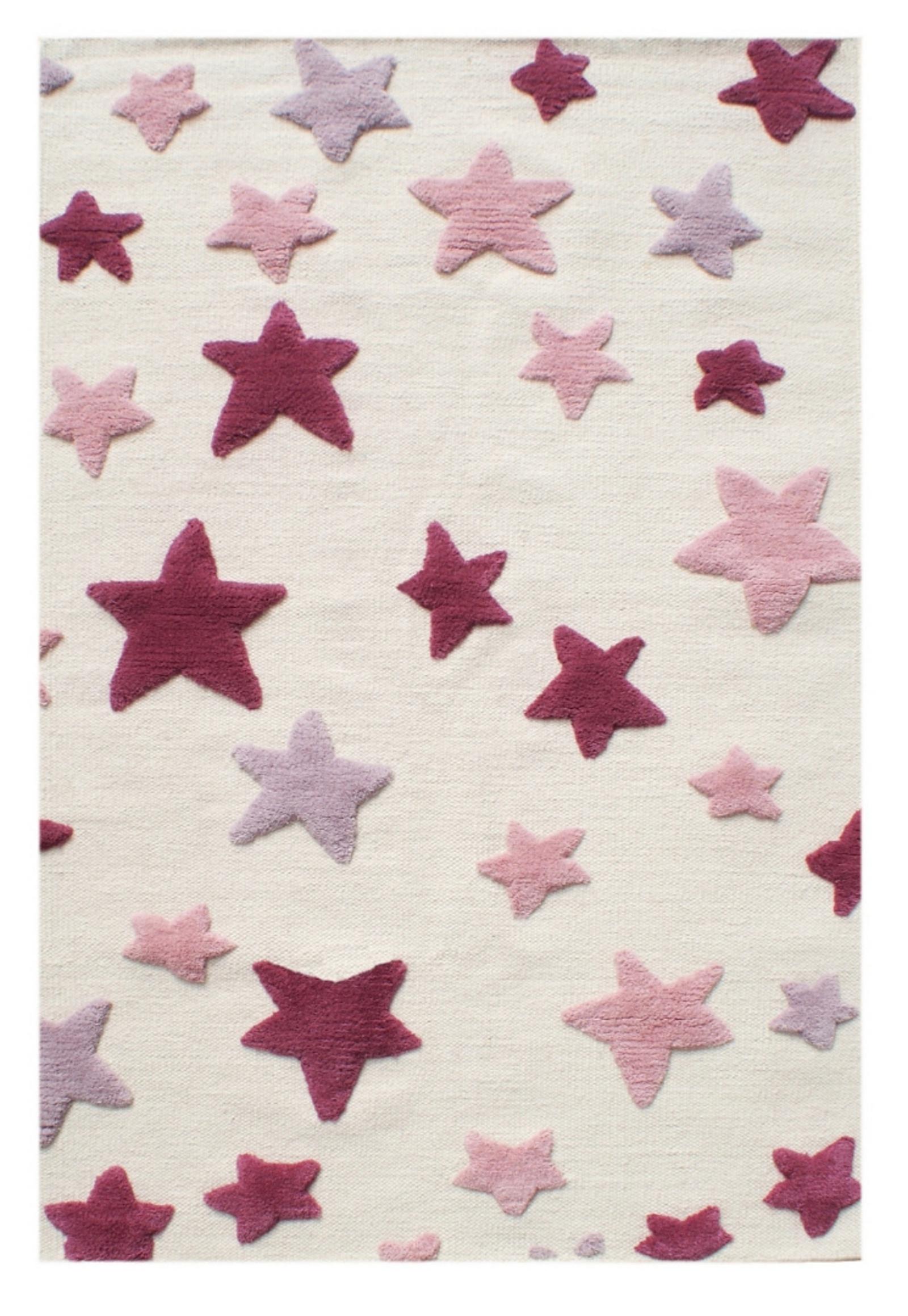 Dětský vlněný koberec hvězdy - natural/červená 120x180 cm