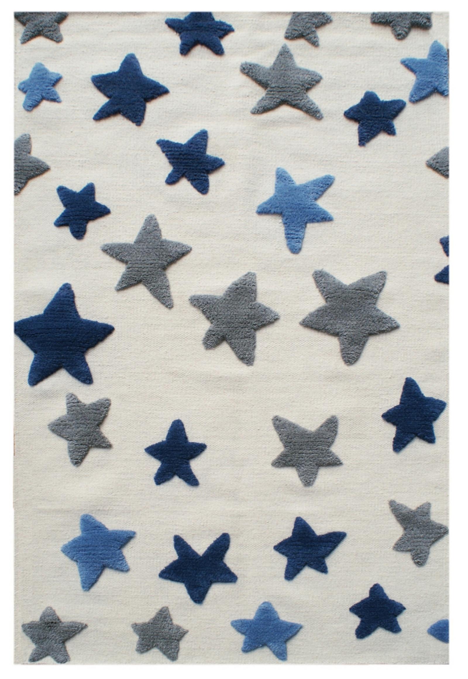 Dětský vlněný koberec hvězdy - natural/modrá 120x180cm