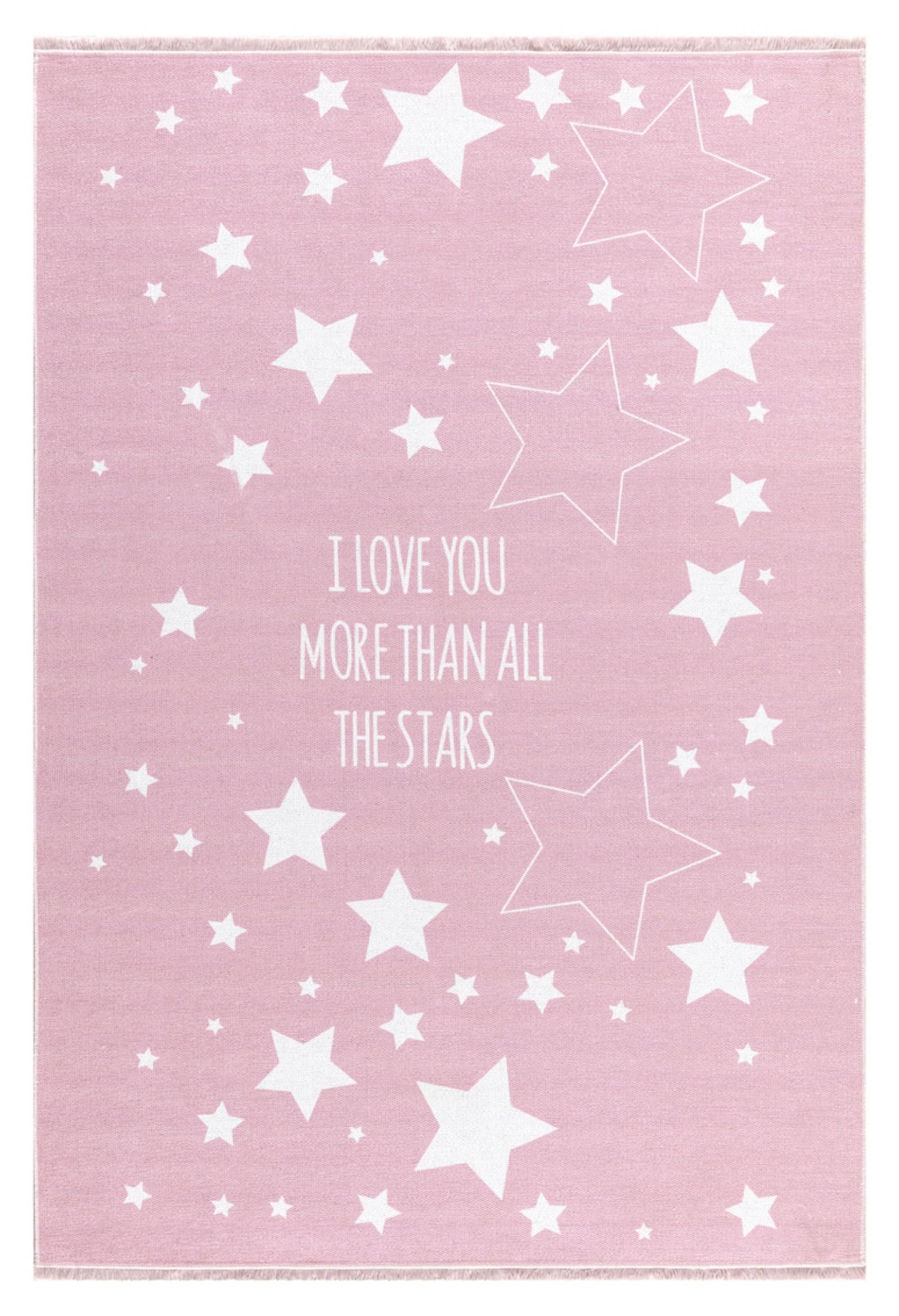 Dětský  koberec  milujeme hvězdy - růžový 140x190cm