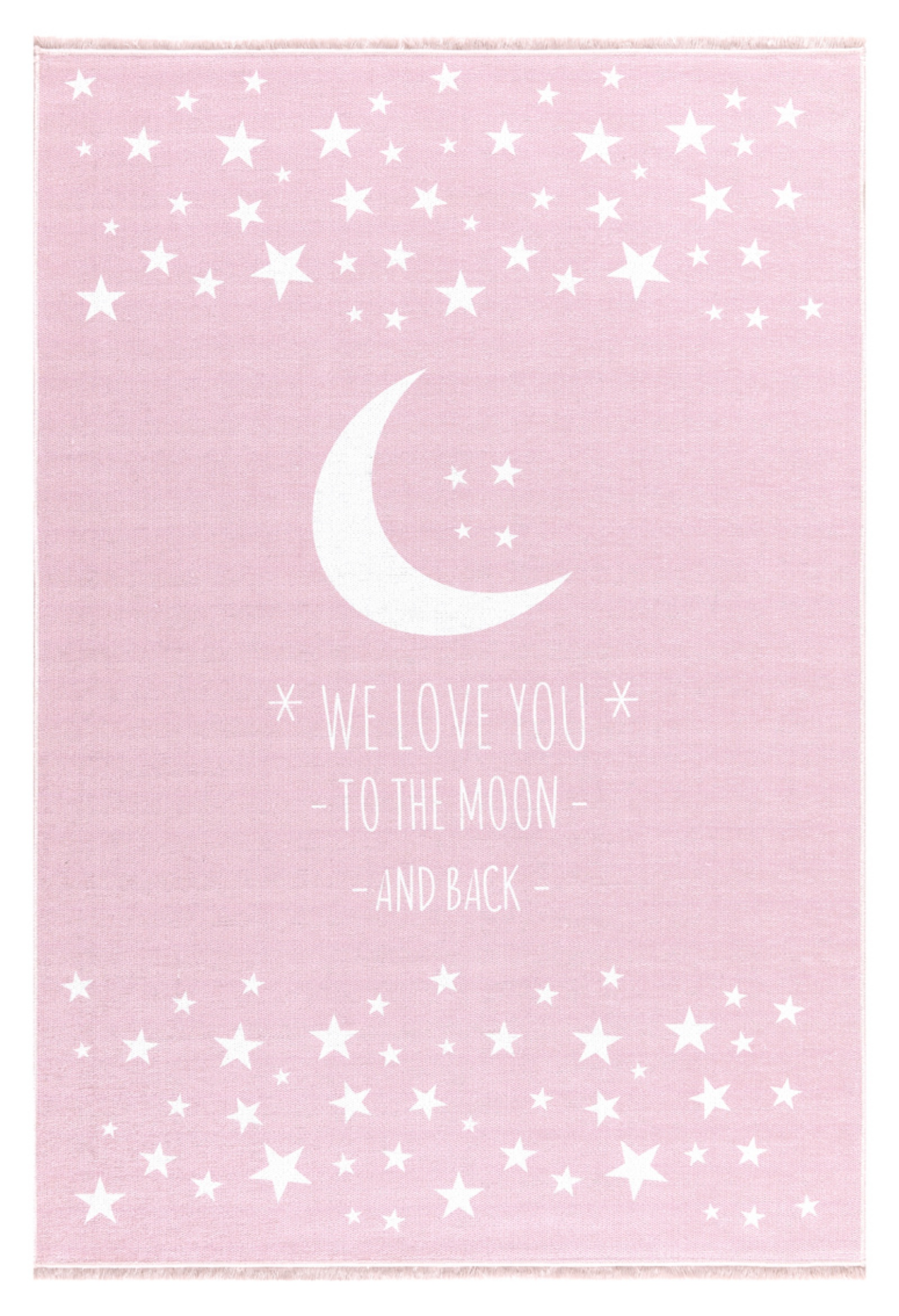 Dětský  koberec milujeme měsíc - růžový 140x190cm