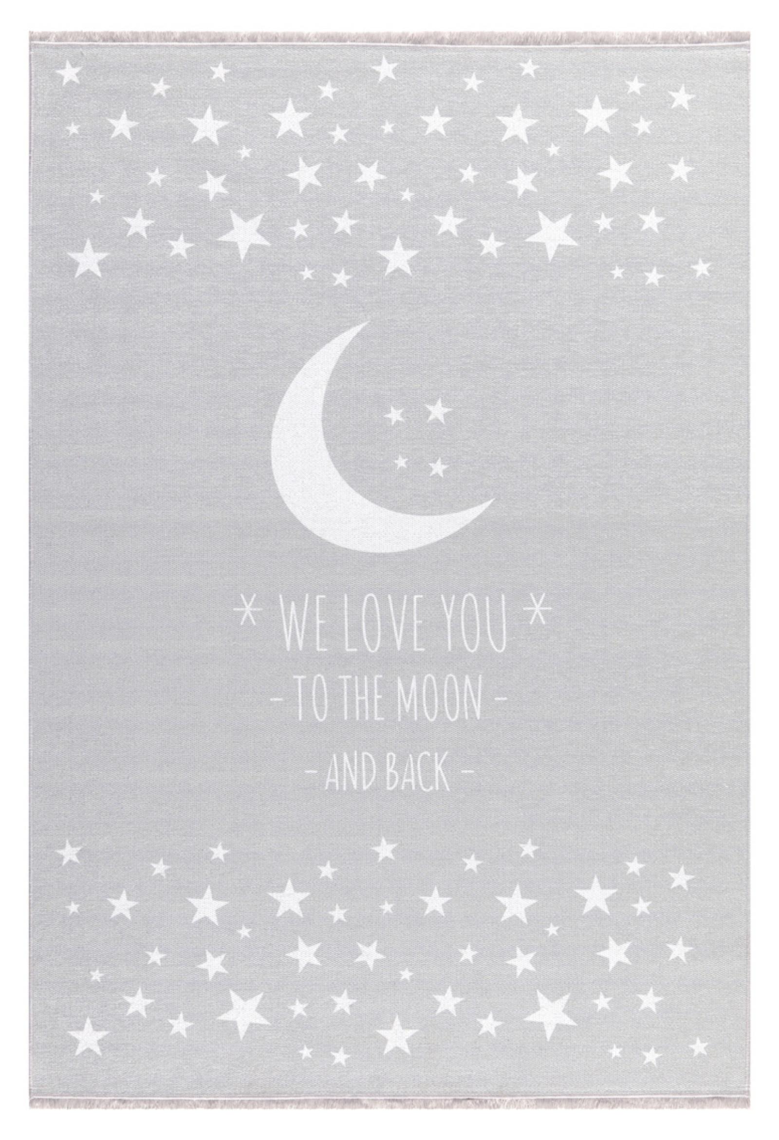 Dětský  koberec  milujeme měsíc - šedý 100x160cm
