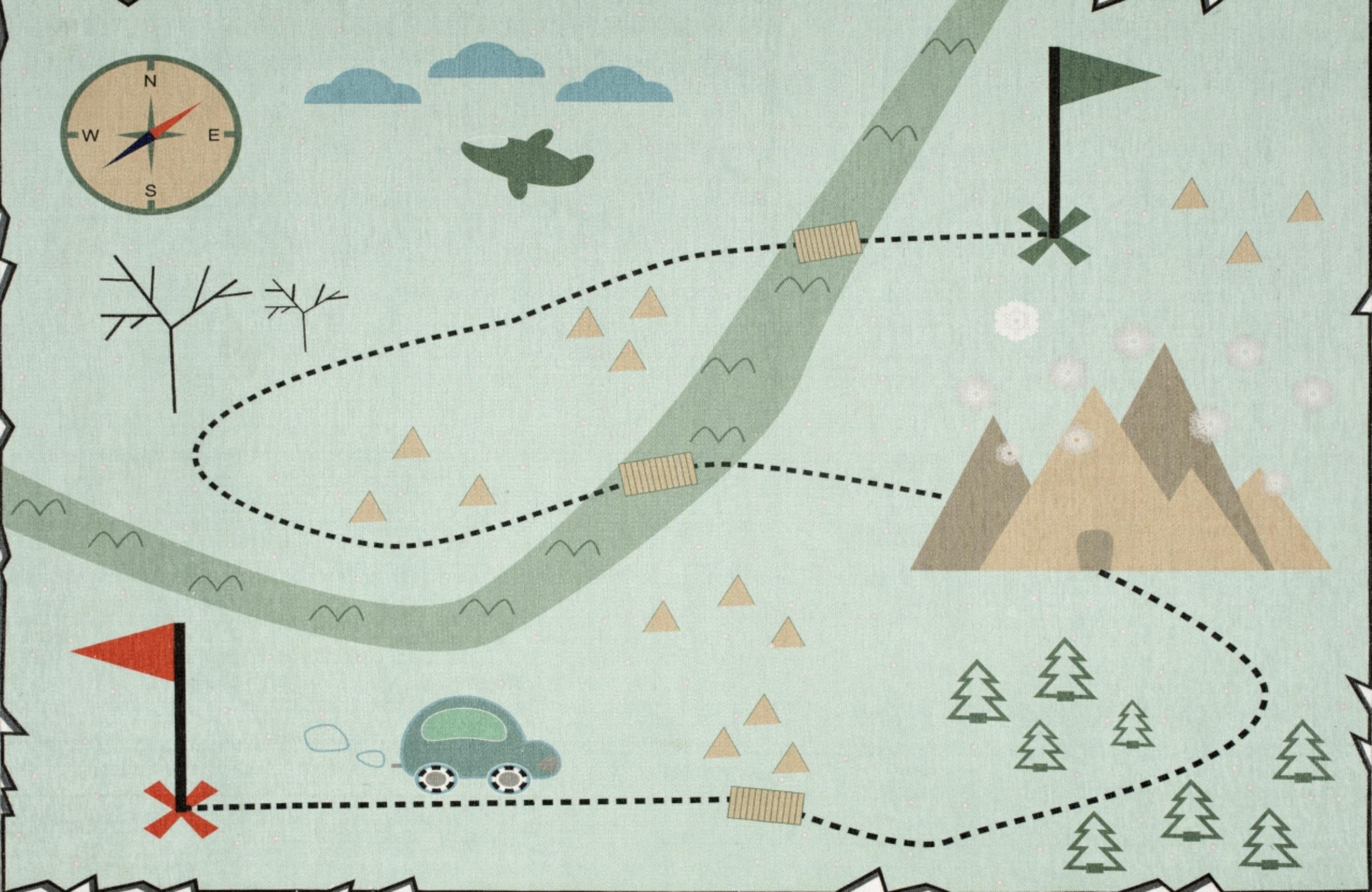 Dětský koberec mapa pokladů - mátový 140x190cm