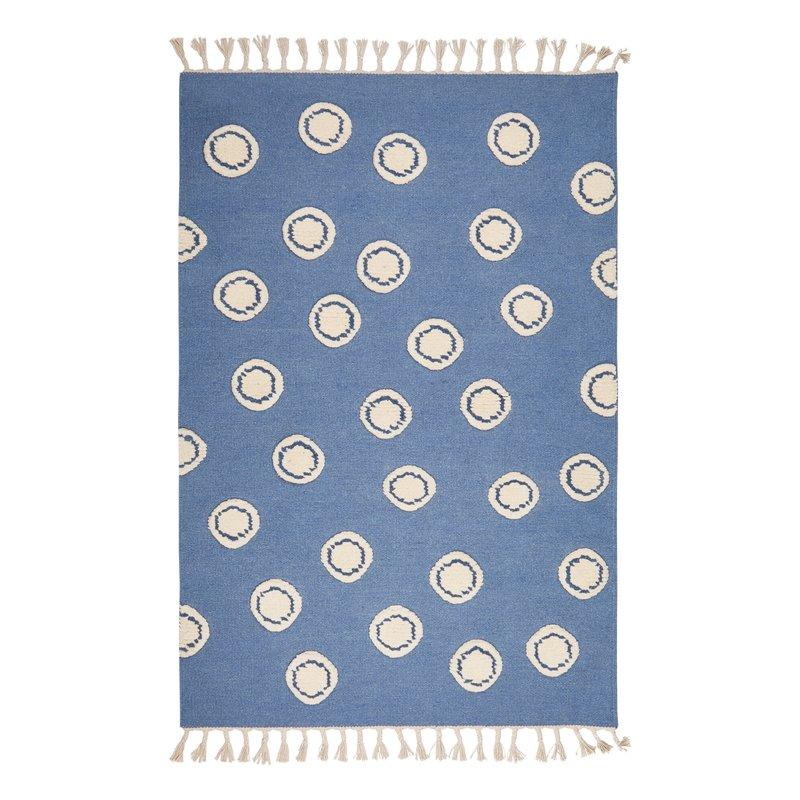 Dětský vlněný koberec Ring - modrý  120x180 cm