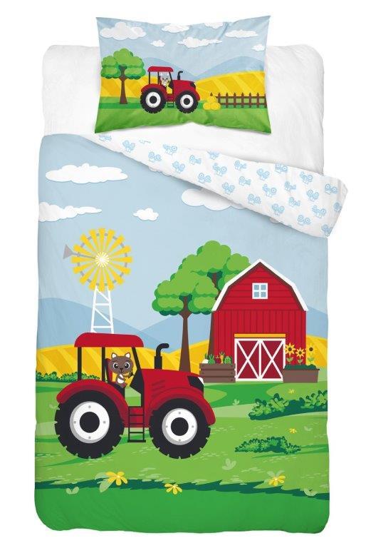 Dětské povlečení Traktor - červený 135x100 cm