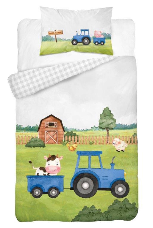 Dětské povlečení Traktor - modrý 135x100 cm
