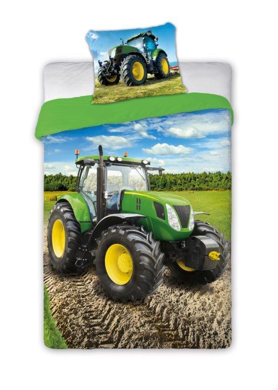 Dětské povlečení Traktor - zelený 140x200 cm